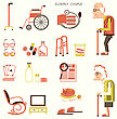 Disability Elderly People And Objects For Pensioners.Vector Flat Design Icons stock illustration