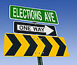 Elections Ave One Way Right Direction Road Sign, Choice Concept stock photography