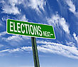 Elections Next Direction Road Sign, Choice Concept stock photo