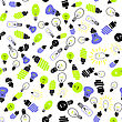 Electric Lamp Seamless Pattern On White Background