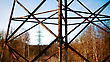 Girder Electric Tower In The Forest stock photo