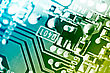 Electronic Circuit Board. Macro Shot, Toned stock image