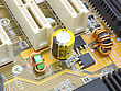 Electronic Scheme Of The Motherboard On A Yellow Background From Radio Details stock image
