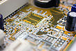 Electronic Scheme Of The Motherboard On A Yellow Background From Radio Details stock photo
