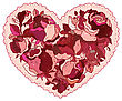 Elegance Pattern Heart Of Flowers Roses. Valentine Greeting Card. Hand Drawn Vector Illustration