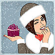 Elegant Young And Happy Woman In Winter, Retro Christmas Card, Vector Illustration