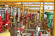 Emergency Valve, Compressor Section. Input, Output Gas Pipe. stock photo