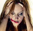 Crying Emotional Portrait Of The Young Depression Woman With With Flowing Makeup stock image