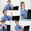 Employee At Work In Many Situations stock photo