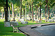 Empty Bench In Lumphini Park, Bangkok, Thailand stock photo
