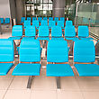 Empty Seats In Waiting Room Of Suvarnabhumi Airport, Bangkok, Thailand stock photo