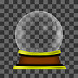 Empty Snow Globe Isolated On Checkered Background