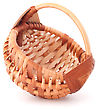 Craftsmanship Empty Wicker Basket Isolated On White Background stock photo