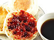 English Muffins With Jelly And Coffee On White Background