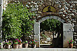 Entrance To The Church At Old Greek Monastery Of Agios Loukas At Sunny Summer Day. stock photography