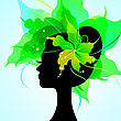 EPS10 Silhouette Of A Beautiful Young Woman With Flowers In Hair