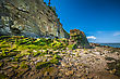 Erosion Eroded Cliff And Beach Located In Cape Enrage New Brunswick Canada stock image