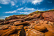 Erosion Eroded Red Rock Cliff In New Brunswick Canada stock image
