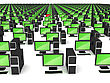 Errors In The Corporate Computer Network. Large Group Of PCs Over White stock image