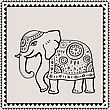 Ethnic Elephant. Hand Drawn Vector Illustration. Indian Style