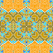 Ethnic Seamless Pattern. Indian Ornament, Kaleidoscopic Flora Pattern, Mandala In Yellow Color. African Abstract Seamless Pattern