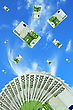 Euro Bills Falling In The Sky Background stock photo