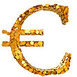 Euro Currency Stability. Symbol Assembled With Coins. Isolated On White