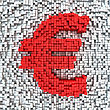 Euro Currency Symbol Made From Matrix Of Red Cubes