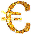 Euro Currency And Wealth. Symbol Assembled With Coins. Isolated On White. Other Symbols Are In My Portfolio