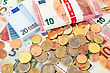 Euro (EUR) Banknotes And Coins - Legal Tender Of The European Union stock photo