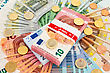 Euro Money: Closeup Of Banknotes And Coins stock photography