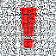 Exclamation Mark Made From Matrix Of Red Cubes stock photo
