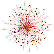 Explode Flash, Cartoon Explosion, Red Star Burst Isolated On White Background