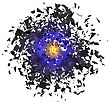 Explosion Cloud Of Grey Pieces On White Background. Sharp Particles Randomly Fly In The Air stock vector