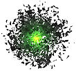 Explosion Cloud Of Grey Pieces On White Background. Sharp Particles Randomly Fly In The Air stock illustration