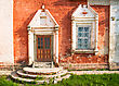 Facade Of An Old Russian Church With Side Entrance And Window stock photo