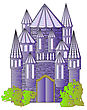 Fairytale Castle Isolated On The White Background