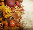 Fall Items :Fruits ,Seeds And Nuts On Grunge Background stock photo