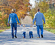 Familly Taking a Walk in the Fall stock photography