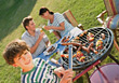 Smiling Family Backyard Barbeque stock photo