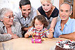 Gap Family Celebrating A Birthday Together stock photography