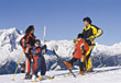 Skiing Family Going Skiing stock photography