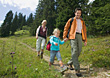 Family Hiking on Nature Path stock photo