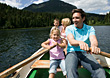Rowing Family In A Row Boat stock photography