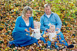 Family in the Fall Leaves stock photo
