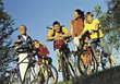 Biking Family on Bicycle Trip stock photography