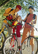 Biking Family on Bike Trip stock image
