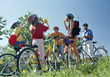 Biking Family on Biking Trip stock photography