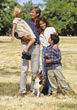 Family Outdoors with Dog stock photography