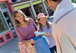 Family Shopping At Outdoor Mall stock photo